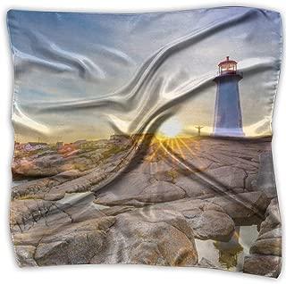 NRIEG Peggy's Bay Lighthouse Sunset Women's Printed Square Scarf Headdress Neck Satin Scarves Wrap Shawl Kerchief