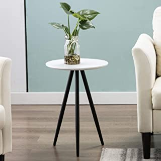CANMOV End Table, Round Coffee Kitchen Dining Table, Modern Leisure Wood Tea Table,Decor Sofa Side Table for Home Living Room Table, White,15.6