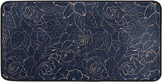 AGONA Anti Fatigue Kitchen Mat Navy Blue Gold Rose Peony Floral Kitchen Floor Mat Soft Standing Mats Non Slip Kitchen Rugs...