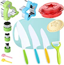 Kids Knife Set for Real Cooking with Cutting Board Safe Salad and Lettuce Knives, Sandwich Cutter and Sealer for Kids, Sta...
