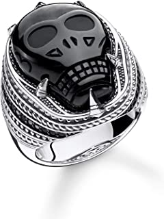THOMAS Sabo 中性戒指缟玛瑙骷髅 925 纯银,黑色 TR2214-705-11