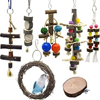 WEIYU 7 Packs Bird Parrot Swing Chewing Toys-Natural Wood Blocks Parrot Tearing Cage Toys Best for Finch,Budgie,Parakeets,...