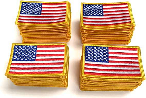 SMALL USA AMERICAN FLAG EMBROIDERED PATCH IRON-ON SEW-ON GOLD BORDER SET OF 3