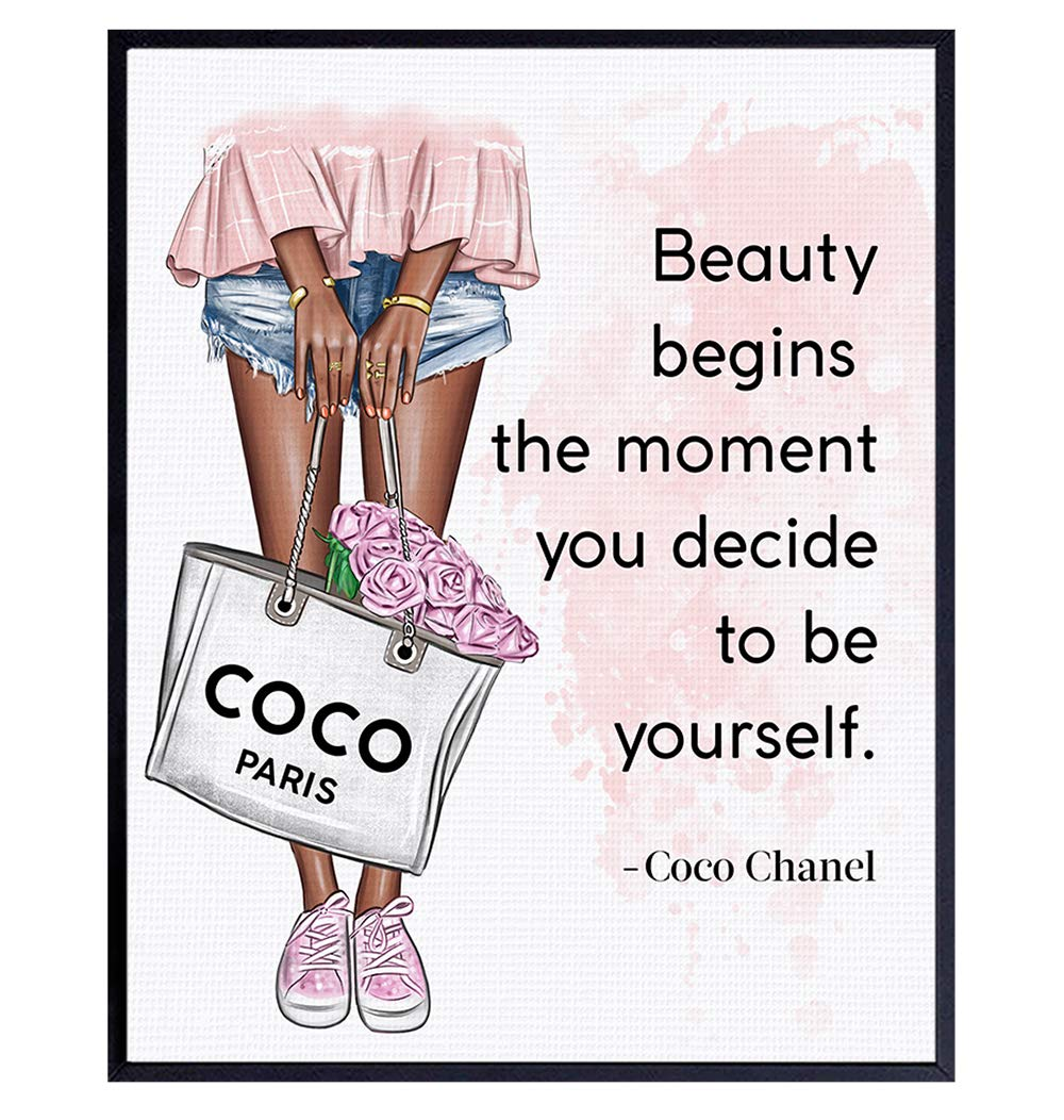 Positive Quotes Wall Decor for Black African American Women - Inspirational Motivational Coco Quote Wall Art - Luxury Glam Fashion Wall Decor - Wall Art For Designer Handbags Fan, Couture Fashionista