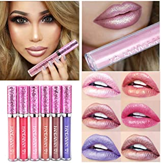 6 Colors Glitter Liquid Lip Gloss Set Diamond Shimmer Metallic Non-stick Cup Waterproof pigment Nude Pearl Liquid Lipgloss...