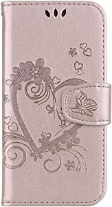 DENDICO Galaxy 2018 Case Shockproof Leather Flip Wallet Case for Samsung Galaxy 2018  Protective Skin Cover with TPU Silicone Inner Case and Card Holder Rose Gold
