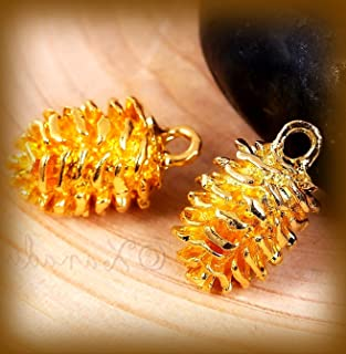 Pine Cone Charm 19mm Gold Tone Autumn Pendants 20PCs Vintage Crafting Pendant Jewelry Making Supplies - DIY for Necklace Bracelet Accessories by CharmingSS