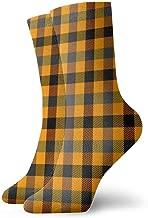 30cm Unisex Halloween Tartan Plaid Pattern Scottish Cage Breathable Fantasy Ankle Running Hiking Socks Sport Athletic Socks Short Crew Socks 11.8 inch