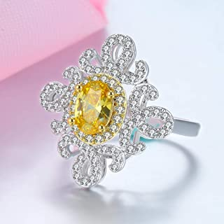 Yellow Shiny Ring Fashion Jewelry Gift for Wife and Mother