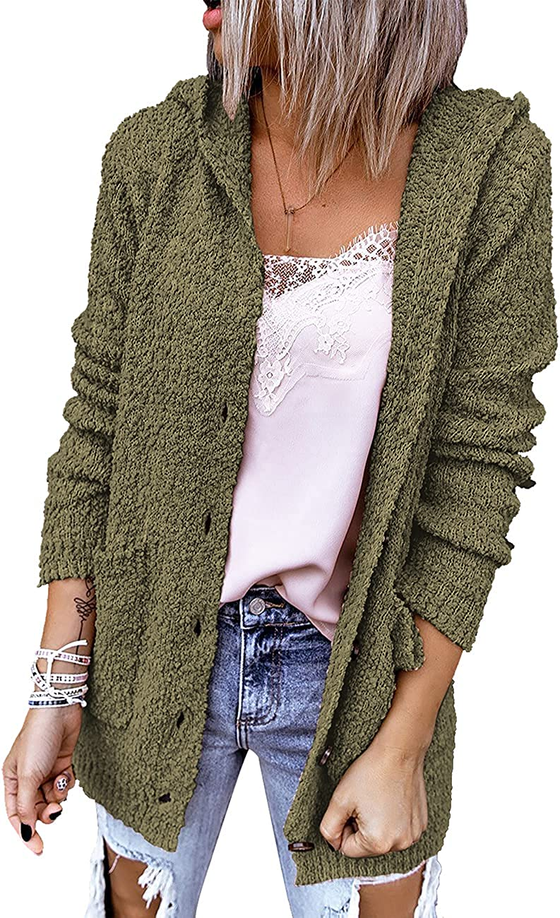 Vetinee Womens Sherpa Popcorn Hooded Open Front Buttons Sweater Pockets Cardigan Coat