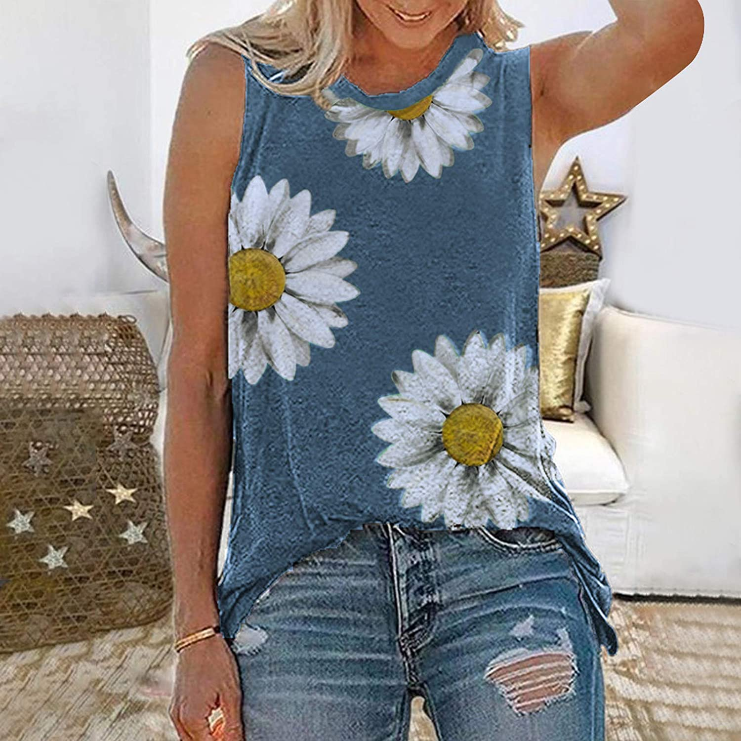Sleeveless Tops for Women Loose Fit,Women Floral Print Tank Tops Casual Sunflower Workout Tanks Tops