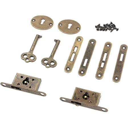 Tulead Bronze Mini Locks Full Mortise Locks Small Box Locks Decorative Antique Locks Jewelry Box Lock Replacement Cabinet Lock 2Sets with Keys,Screws