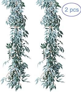 NANSSY 2 Pack Artificial Greenery Garland Faux Silk Willow Leaves Vines Wreath for Wedding Party Home Decor (Gray Willow Leaves)