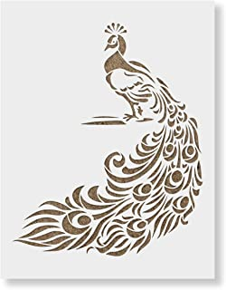 Peacock Stencil Template - Reusable Stencil with Multiple Sizes Available