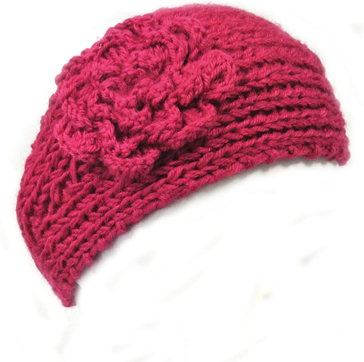 Wrapables Winter Hand Knit Floral Headband, Hot Pink