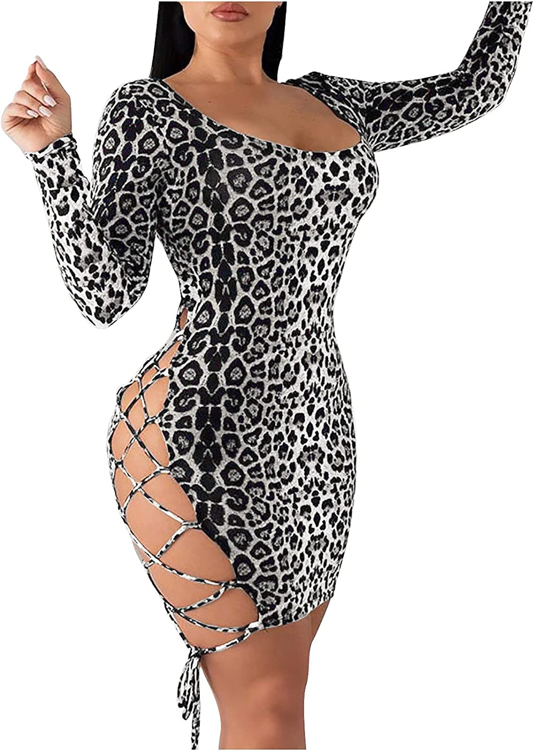 Leopard Print Dresses for Women Backless Lace up Dress Sequin Club Party Dress Club Night Bodycon Long Sleeve Dress