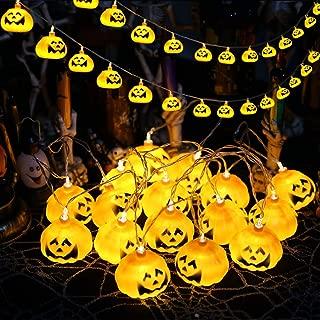 YURROAD Halloween String Lights - Pumpkin Lanterns Decorative Jack-O-Lantern Wire Lights for Patio Garden Gate Yard for Halloween Christmas Decoration - 5.2ft 10 LEDs