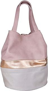 SIX Große Beuteltasche: Shopper-Stil, zarte rosa Töne mit schimmernden metallic Details, Druckknopfverschluss, veganes Led...