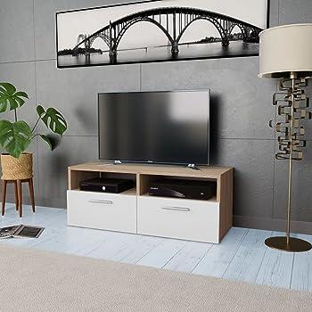 Tidyard Mesa para TV Mueble TV Salón Mesa Televisión Mueble Comedor Televisor Bajo con 2 Estantes y 2 Armarios Estilo de Moderno PVC 95x35x36cm Roble y Blanco: Amazon.es: Hogar