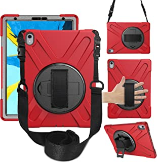 iPad Pro 11 Case 2018, 360 Degree Rotating Kickstand Cover with Adjustable Hand Strap & Shoulder Strap, Heavy Duty Silicone Shockproof Rugged Case for Apple iPad Pro 11 Inch 2018 Release (red)