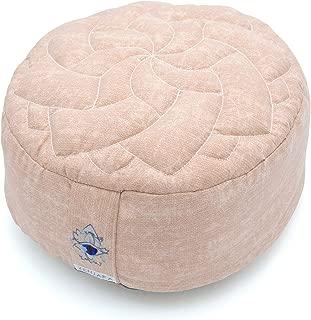 Zenjara Zafu Yoga Meditation Cushion - Overstuffed USA Buckwheat Hull Filling | Washable, Removable Cotton Pillow Cover | Choose Your Color & Size