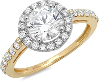 Clara Pucci 2.25 CT Round Cut Pave Halo Bridal Band Engagement Anniversary Promise Ring 14k Yellow White Gold