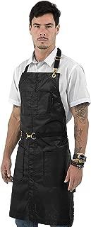 Under NY Sky No-Tie Coated Black Apron – Golden Hardware, Leather Reinforcement, Split-Leg, Adjustable for Men, Women – Pro Barber, Tattoo, Barista, Bartender, Hair Stylist, Colorist, Server Aprons