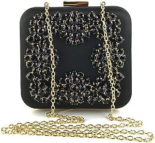 LVfenghe Women's Luxury Diamond Square Banquet Clutch Bag Golden Chain Shoulder Messenger Bag Wedding Gift Bridal Dress Tote Wallet Size: 15 * 6 * 14.5cm (Color : Black)