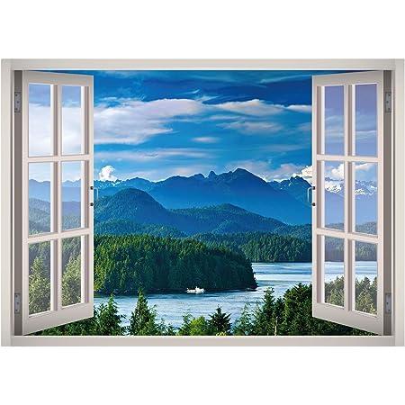 Huge Window Wall sticker Lake Garden House Vinyl Decor 3d Mural Art Home Removab