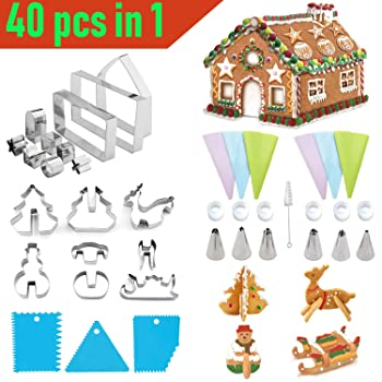 40 Pieces Cookie Cutters for Kids 3D Biscuit Cutter Set - SZBOB Stainless Steel Cookie Cutters Shapes Cake Baking Tools,Christmas tree,Snowman,Deer,Sled,Piping Tips,Pastry Bags,Cake Decorating Kits