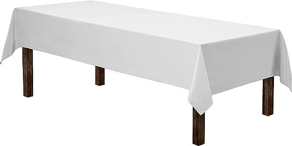 Gee Di Moda 长方形桌布 60 X 1/ 102 白色长方形桌布,用于 6 英尺桌子,可水洗聚酯,非常适合自助餐,节日晚餐婚礼更多