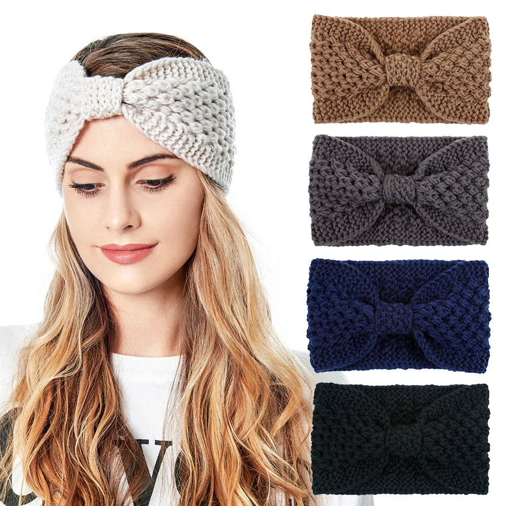 Womens Knitted Headband - Soft Crochet Bow Twist Hair Band Turban Headwrap Winter Ear Warmer (4ColorPackN)