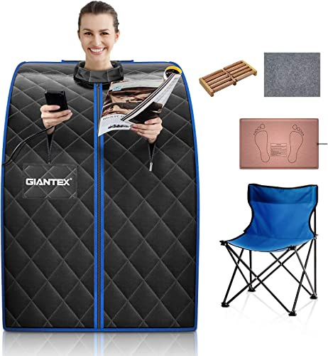 discount Giantex Portable Sauna Infrared discount Personal lowest Home Spa W/ 9 Temperature&Timer, Foldable Chair, LED Remote Control, Foot Roller, Heating Pad & Absorbent Mat for Weight Loss, Detox, Relaxation (Black) outlet sale