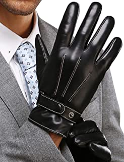 Leather Gloves for Mens, Full-Hand Touchscreen, Gift Packaging, Men's Texting Driving Winter Cold Weather Gloves