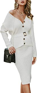 Simplee Women's Off Shoulder Button Down Bodycon 2 Piece Knit Midi Dress with Belt