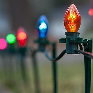 "Set of 100 C7 Christmas Pathway Lights – Walkway Lights/Driveway Christmas Lights/Christmas Stake Lights, Outdoor Christmas Lights, Green Wire, 7.5"" Stakes, 100 Ft (Multicolor Lights)"