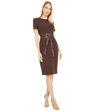 Calvin Klein Short Sleeve Dress with Faux Leather Waist and Belt (Coffee Bean) Women