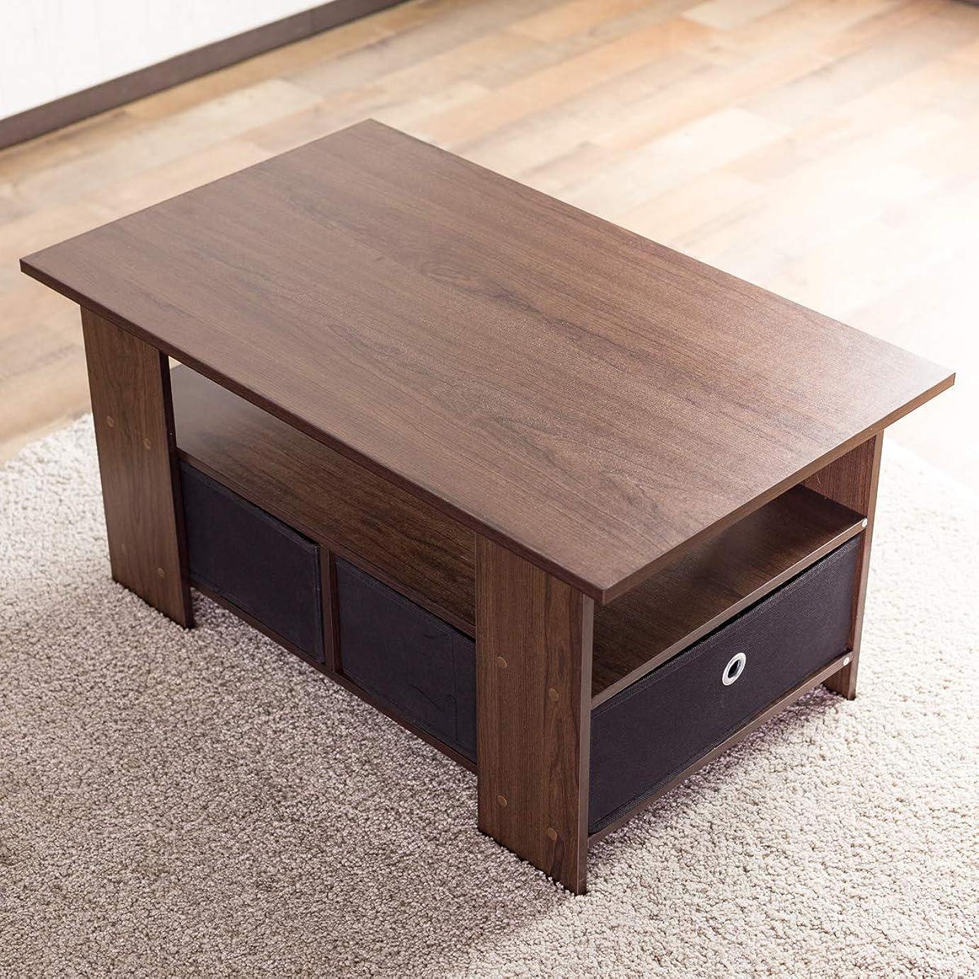 ランタンパイル特異性テーブル 使いやすい収納付きセンターテーブル(80×48cm) すっきり片付く収納ボックス付き 中下段で3分割 木製ローテーブル 訳有り(ブラウン色)