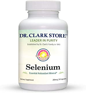 Dr. Clark Selenium Supplement 200 Mcg - Dietary Capsules with Essential Antioxidant Mineral - Improves Thyroid Function, I...