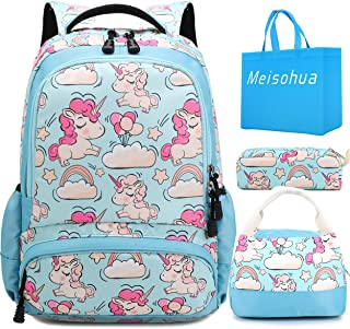 School Backpacks Girls and Boys Backpack with Lunch Bag Pencil Case Kids 3 in 1 Bookbags
