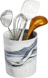 Porcelain Kitchen Utensil Holder - Decorative Marble Utensil Crock - 6.5