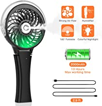 COMLIFE Handheld Misting Fan Portable Hand Fan-Mini Rechargeable Battery Operated Fan, Foldable Personal Travel Fan with Cooling Humidifier and Colorful Nightlight for Camping, Office, Outdoor (Black)