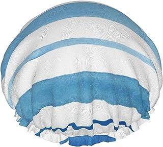 Czapka prysznicowa dla kobiet wodoodporna dwuwarstwowa akwarela niebieski pasek wielokrotnego użytku czapka do włosów kąpi...