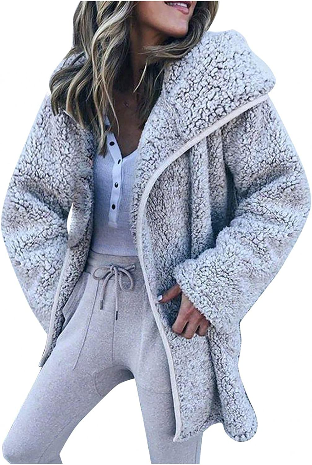 Blouses for Women Solid Color Warm Winter Cardigan Lapel Faux Loose Coat Jacket Casual Long Sleeve Outerwear
