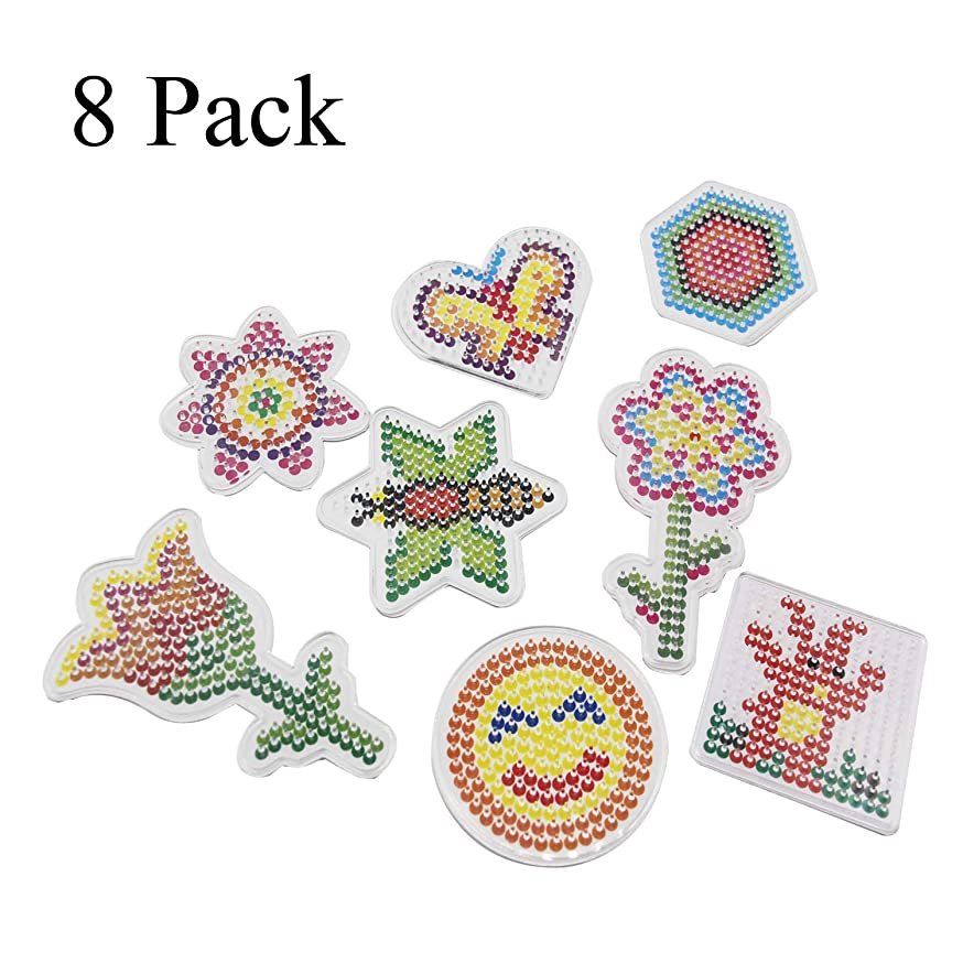 H&W 8 Pack 5mm Fuse Bead Pegboards for Children Figure & Flower & Insect (WA3-Z3)