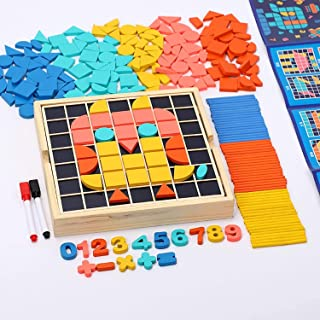 Wooden Pattern Blocks Puzzle Kids Toys Jigsaw Shapes Mosaic Montessori Educational Toys for Toddlers Kids Boys Girls Ages ...