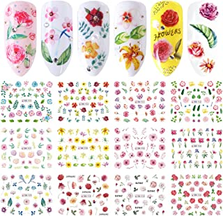 Comdoit Nail Decals,Nail Stickers for Women Water Transfer Nail Art Stickers Rose flower Leaf Pattern Design Fingernail Toenail Tattoo Decoration DIY Nail Art Accessories Manicure Acrylic Tip Decor