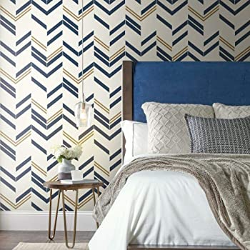 Roommates Blue Chevron Stripe Peel And Stick Wallpaper 20 5 X 16 5 Feet Amazon Com