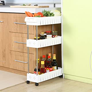 3 Tier Slim Storage Cart Mobile Shelving Unit Slide Out Storage Tower for Kitchen Bathroom Laundry Room Narrow Places(Whit...