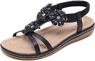 ZAPZEAL Sandales Femmes Plates Été Chaussures à Talons Plats Cuir PU Nu Pieds Bohème Bout Ouvert Claquettes pour Filles Se...